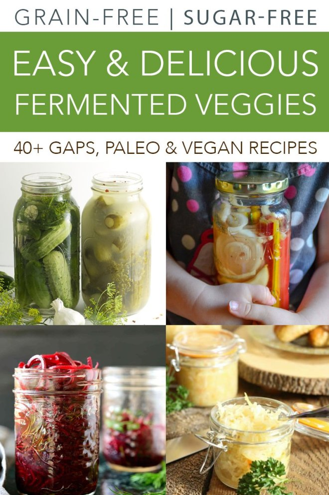 Over 40 delicious and easy fermented veggie recipes. Paleo, vegan, and GAPS-friendly ways to preserve your abundant veggie harvest!