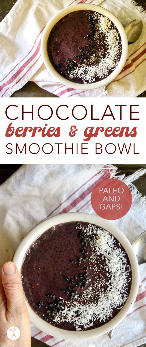 Decadent and nourishing, this Chocolate Berries & Greens Smoothie Bowl is full of delicious and energizing, nutrient-packed ingredients! It's naturally gluten-free, and dairy and refined sugar-free, too! #chocolate #breakfast #paleo #gapsdiet #glutenfree #smoothie #smoothiebowl #greens #berries #healthyeating #cleaneating