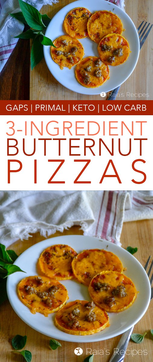 Easy, delicious, and packed with nutrition, these little 3-ingredient Butternut Pizzas will be a hit with kids and parents alike! They're perfect for GAPS, keto, low carb, and vegetarian diets! #primal #glutenfree #gapsdiet #keto #lowcarb #pizza #butternutsquash #vegetarian