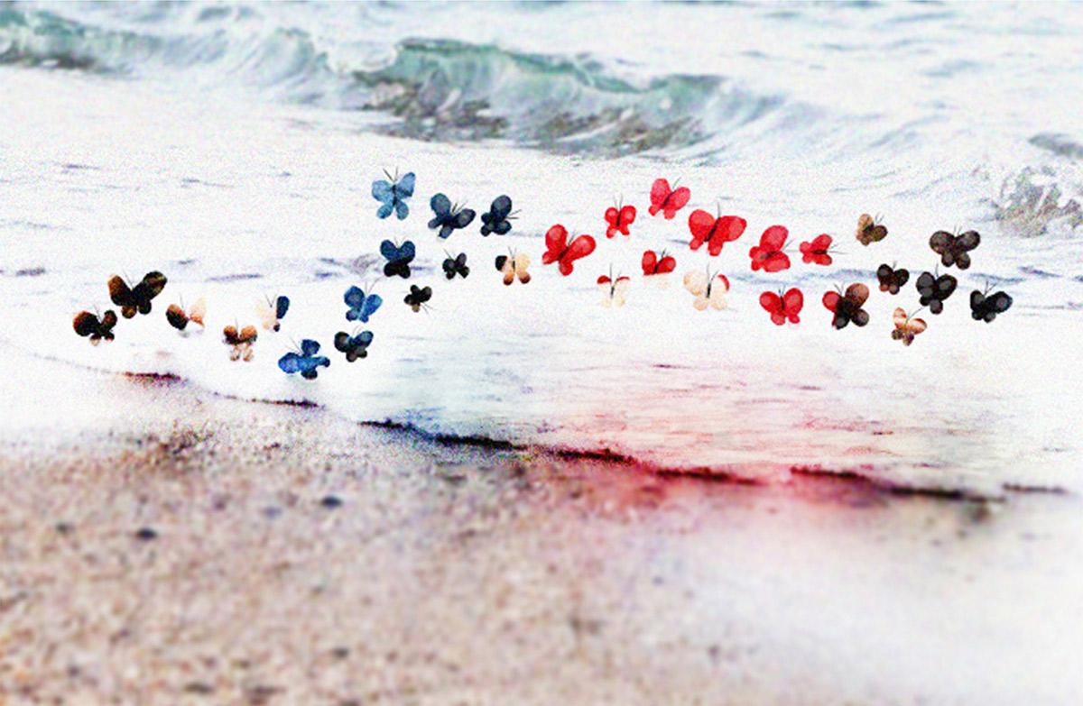 Aylan, el niño mariposa. Ilustración: Augusto Metztli. Publicada en Boreal