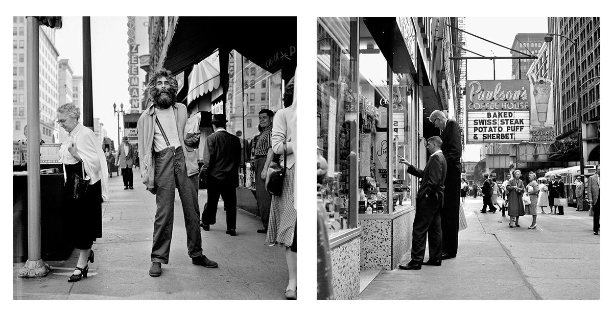 Izquierda, 1959, Los Ángeles. Derecha, Agosto, 1960, Chicago