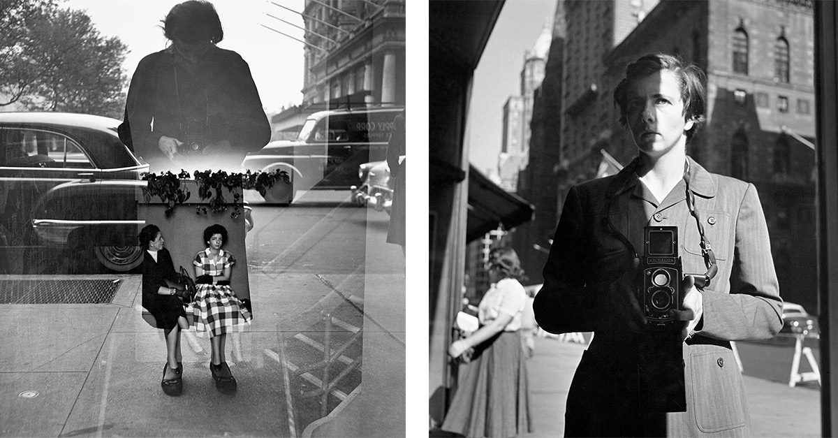 Fotos tomadas de la colección Selfportraits (autorretratos) de la página de Vivian Maier. Izq: 1954. Derecha: October 18, 1953, New York, NY