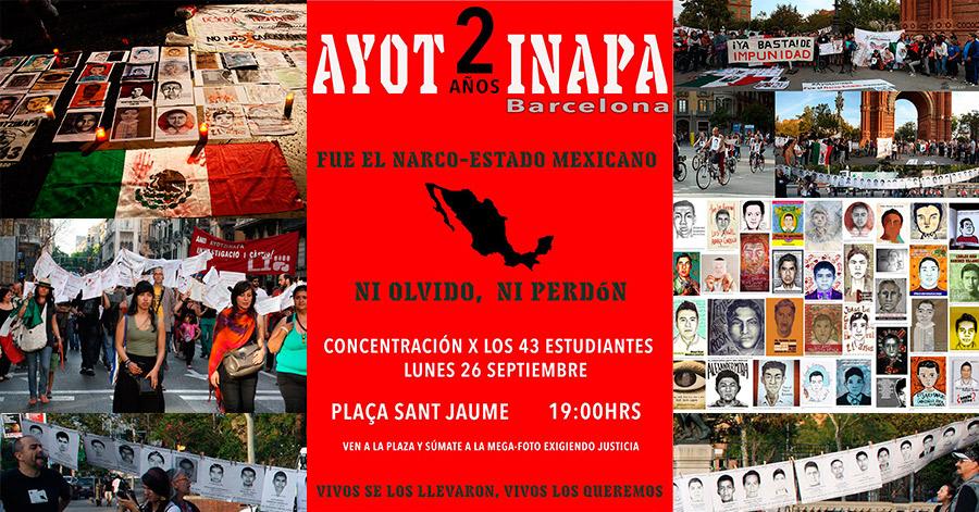 Concentración en Barcelona por los 43 de Ayotzinapa