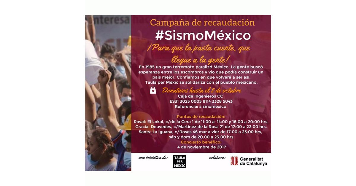 Solidaridad con México desde Barcelona. La Taula per Mèxic lanza campaña de recaudación de fondos para enviar a las zonas afectadas