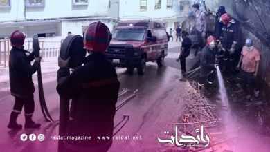 صورة حريق مهول يلتهم منزل بحي سيدي بوحاجة – طنجة