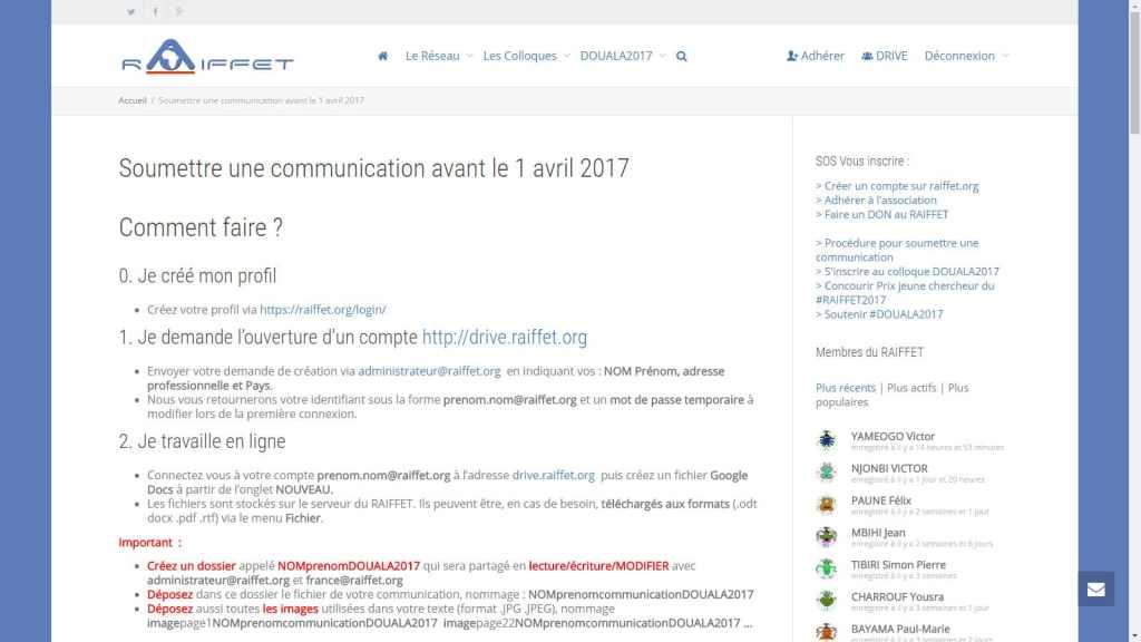 5ème colloque International du RAIFFET APPEL à communication avant 1 avril 2017