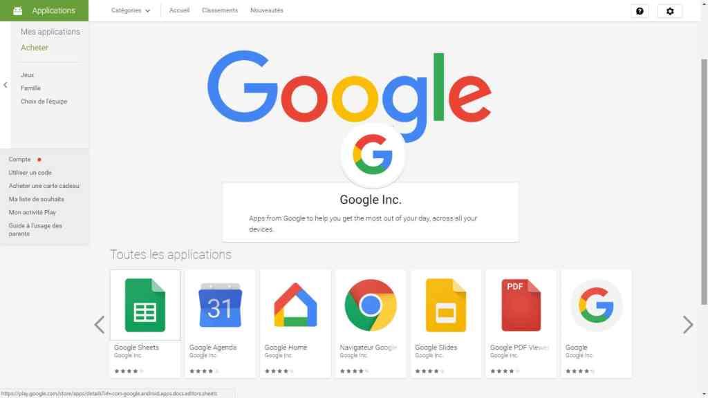 Toutes les applications pour smartphone sur GooglePlay