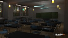 Classroom scene. Inspired by Alex Sandri. The models are not mine. Responsible for: Shading/Lighting. Rendered in Mantra.
