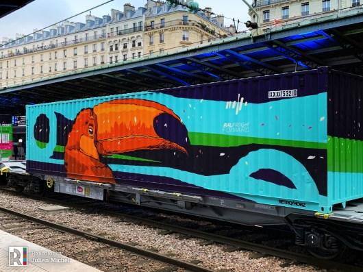 An 'art' container on a SNCF platform, as seen at Gare de l'Est in Paris (FR) on 02.02.2019 Photo: Julien Michel