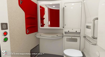 The new Acela trainsets features spacious ADA-compliant restrooms with a 60-inch diameter turning radius.