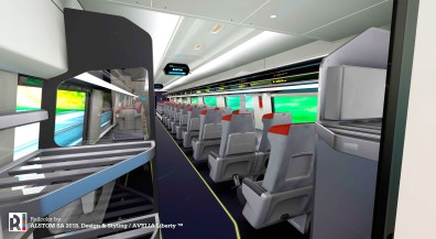 A streamlined overhead luggage storage will be offered in the new Acela trainsets.