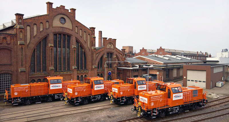 31.03.2017, line-up of the four DAL > Chemion H3 locomotives at the factory perimeters of Alstom in Stendal. Photo: Alstom
