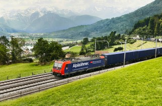 SBB Cargo International is currently branding many locomotives in its fleet as 'Alpäzähmer', or tamer of the Alps, referring to the opening of the Gotthard base tunnel. Picture: SBB Cargo International