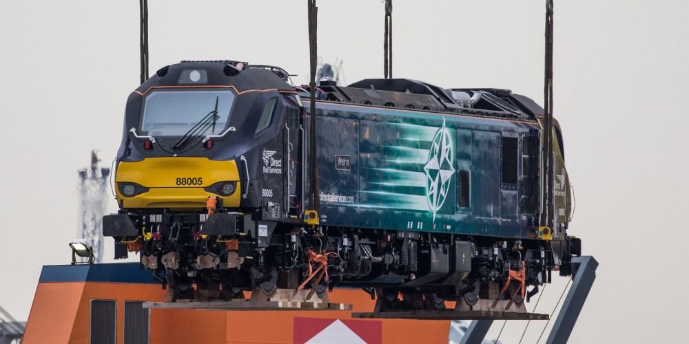 Beacon Rail / DRS 88005 'Minerva' is loaded onto the Eemslift Nelli in the port of Sagunto, Spain, on February 23, 2017. Photo: Malcolm Wilton-Jones.