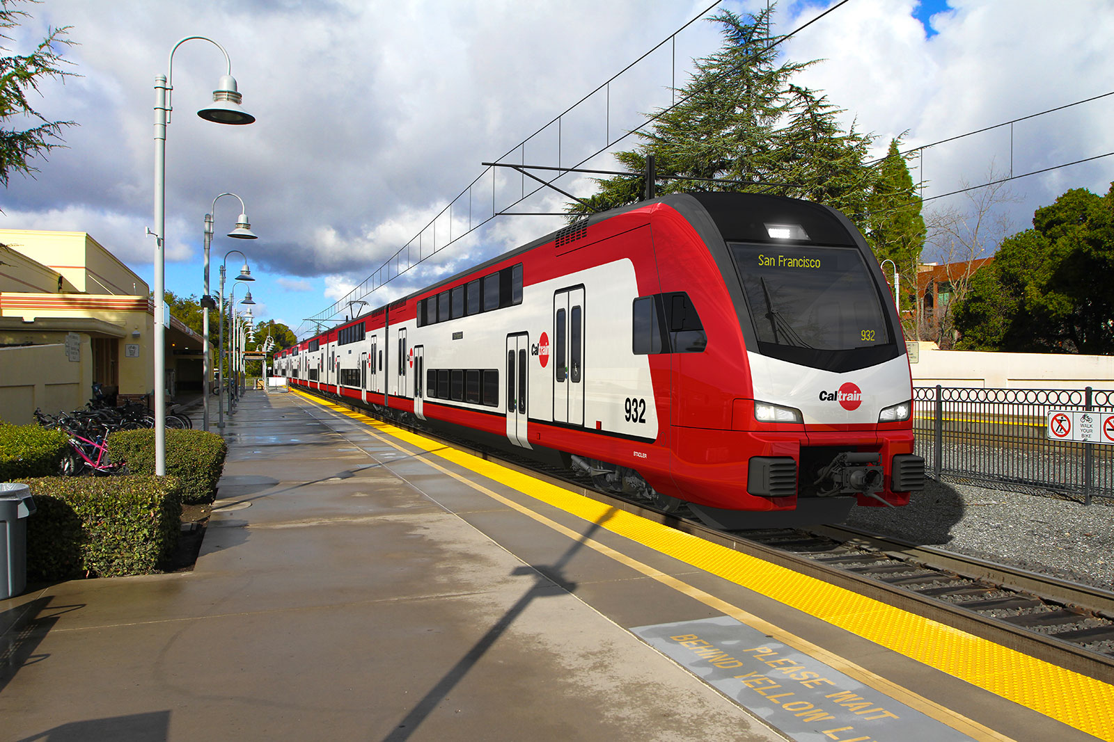 Artist impression of the KISS USA for Caltrain. Note the spacious top floor. Copyright Stadler Rail