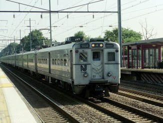 A southbound NJ Transit train passes through Elizabeth, N.J. in August 2003..