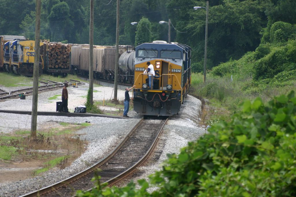 A freight train stops in Manchester, Ga., on July 6, 2007, for a crew change.