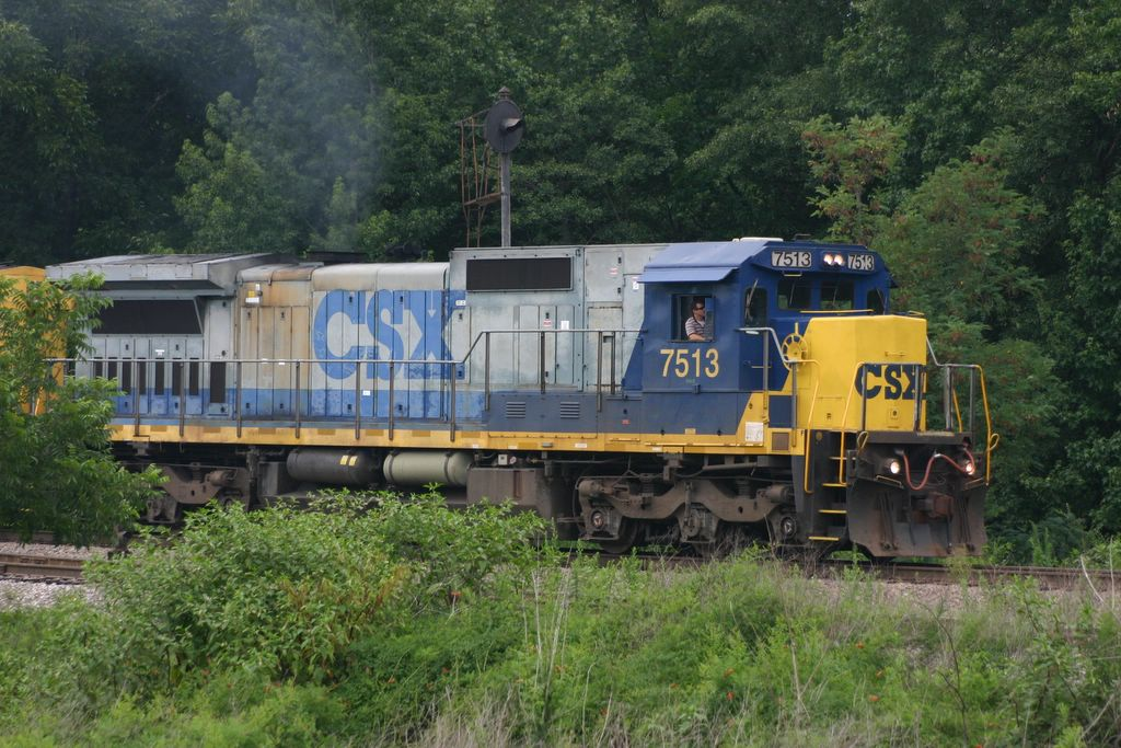 A freight comes into view of the trainwatching platform in Manchester, Ga.