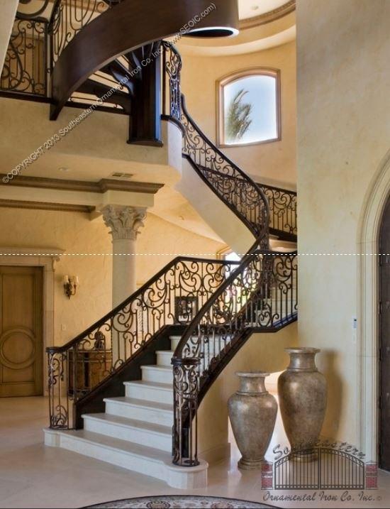 Southeastern Ornamental Iron Works | Custom Iron Stair Railing | Indoor | Steel | Metal | Curved | Ornamental
