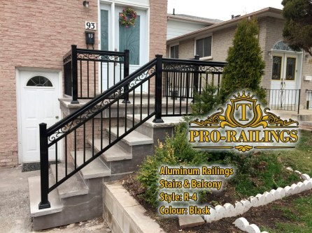 TorontoProRailings-AluminumRailings-R-4-Style-Black-Stairs-Balcony