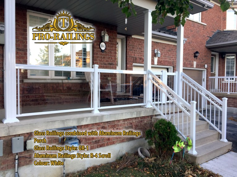 TorontoProRailings-Glass-Railings-Style-GR-1-SmokedGrey-combined-with-Aluminum-Railings-R-4-Scroll-White-on-porch