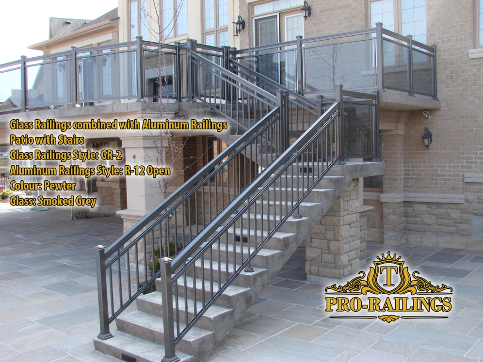 TorontoProRailings-Glass-Railings-Style--GR-2-combined-with-Aluminum-Railings-Style-R-12-Open-Patio-with-Stairs-Pewter-Glass-Smoked-Grey