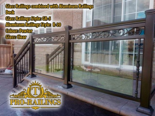 TorontoProRailings-Glass-Railings-Style-GR-5-Pewter-Glass-Clear-combined-with-Aluminum-Railings-Style-R-20-Deck
