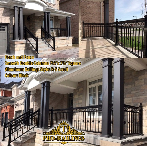 TorontoProRailings-Aluminum-Smooth-Columns-7_25x7_25-Square-Aluminum-Railings-Style--R-5-Scroll-Colour--Black-Porch&Fence