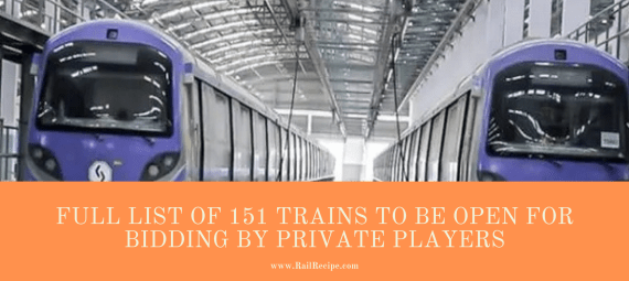 Full List of 151 Trains to Be Open For Bidding By Private Players