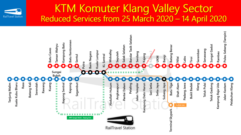 KTM Komuter Klang Valley Sector Map Reduced Services from 25 March 2020 – 14 April 2020