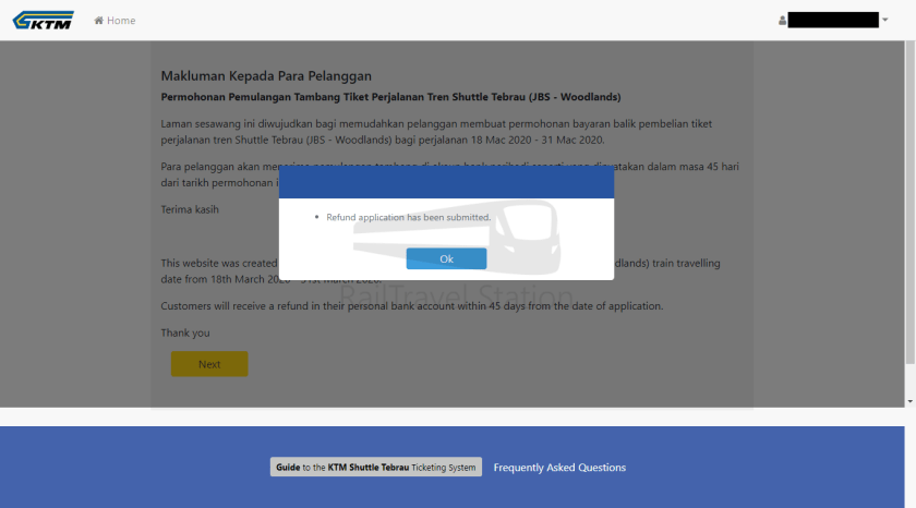 Shuttle Tebrau Online Refund Step 3