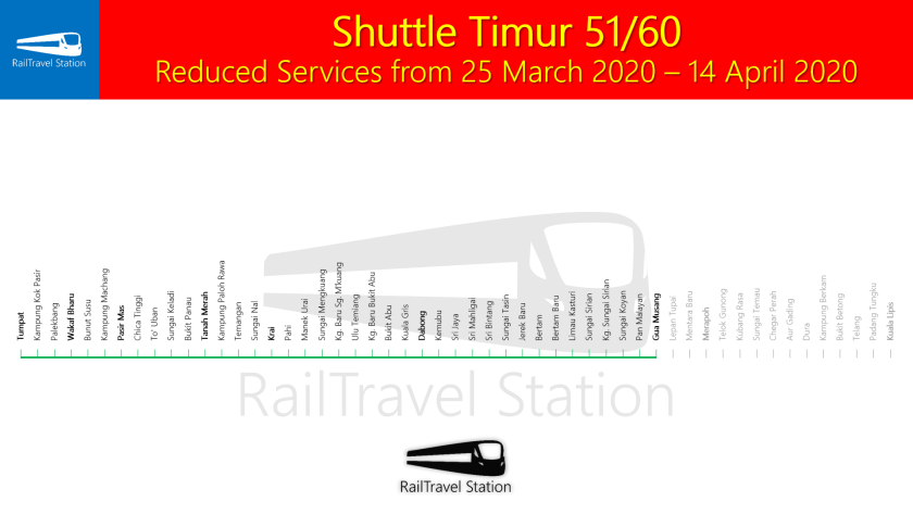 Shuttle Timur 51 60 Map Reduced Services from 25 March 2020 14 April 2020
