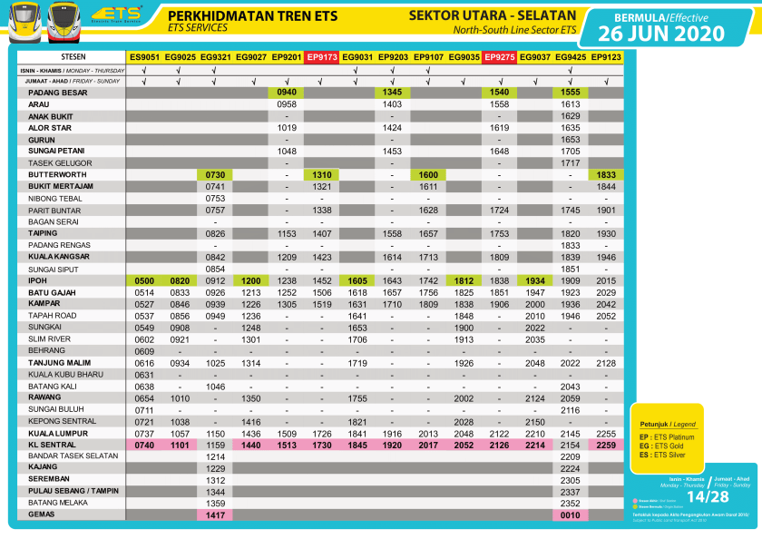ETS Timetable 26 June Southbound