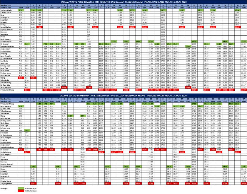 KTM Komuter Timetable Pel Klang Tg Malim 20200715
