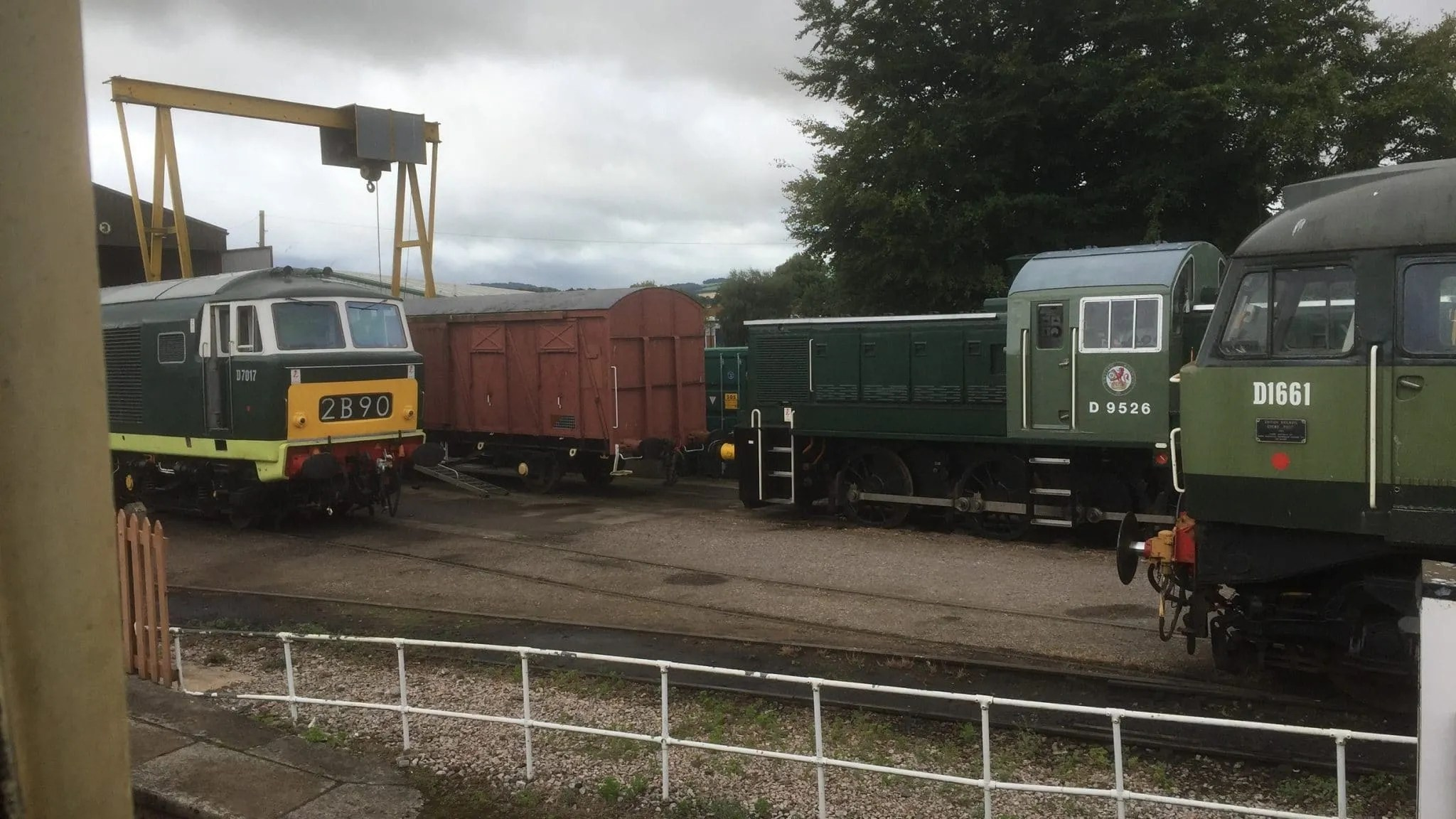 Hymek D7017 with Class 14 D9526 and Brush type 4 D1661 North Star at Williton on the West Somerset Railway