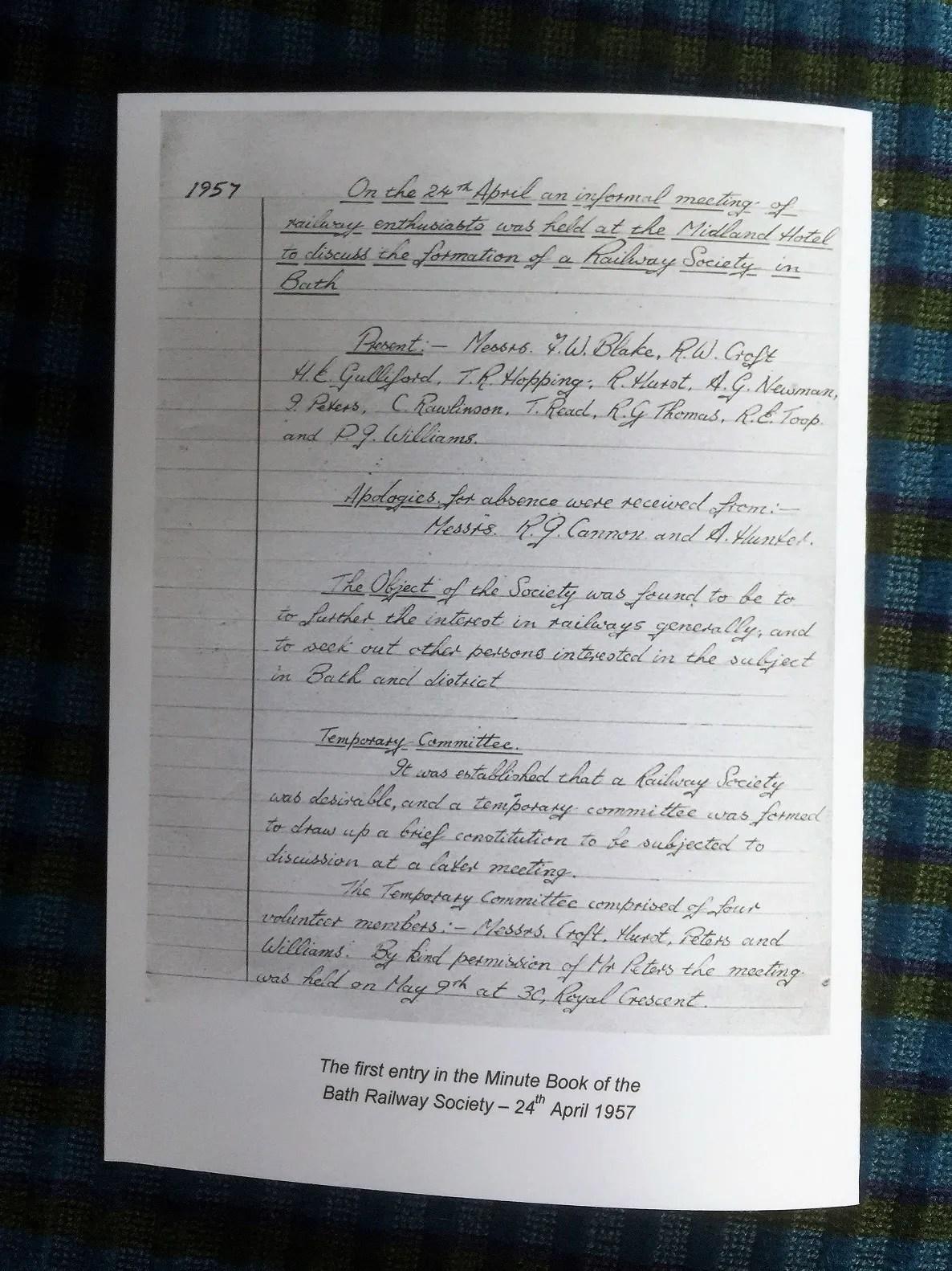 Bath Railway Society minute book 24th April 1957
