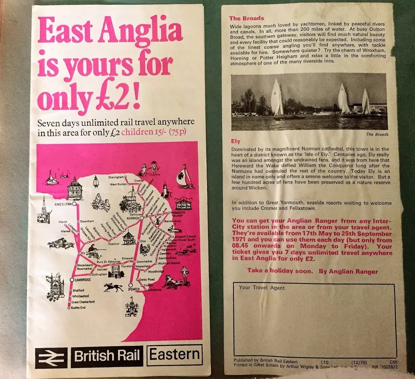 British Rail leaflet from 1971 promoting the British Rail Eastern Region Rover