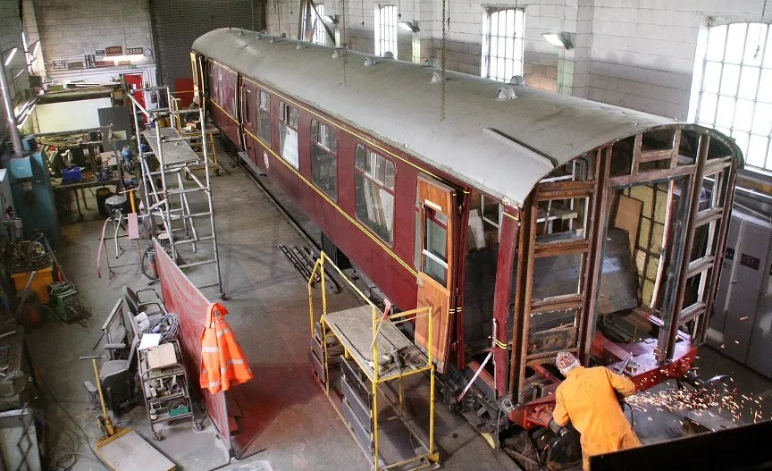 Work on Mark 1 carriage restoration at Cranmore