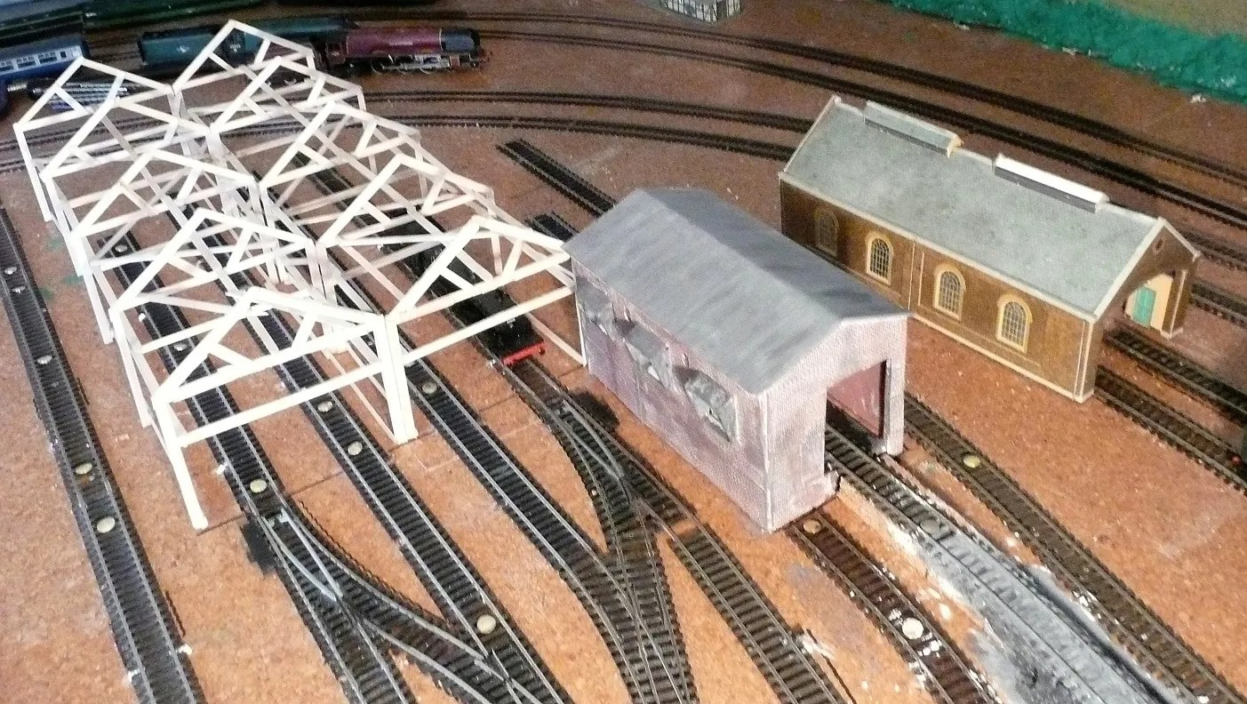 Ariel view building model railway 00 gauge shed