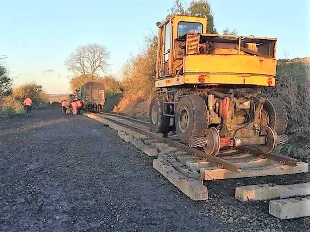 Road rail vehicle at Somerset and Dorset railway