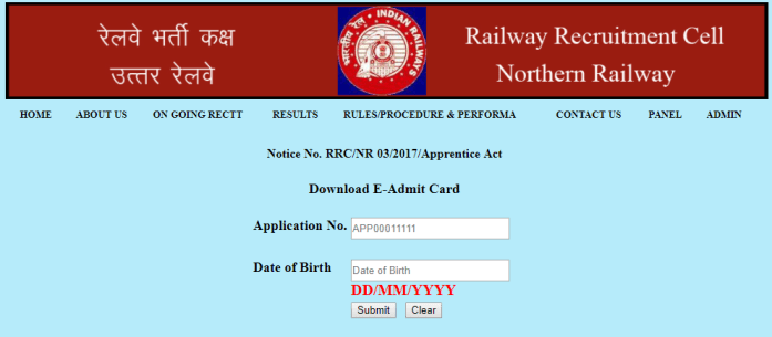 RRC NR Apprentice admit card download