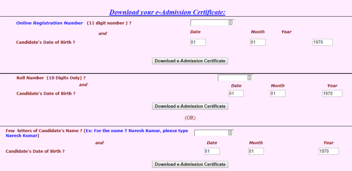 SSC CHSL SR Admit Card Download
