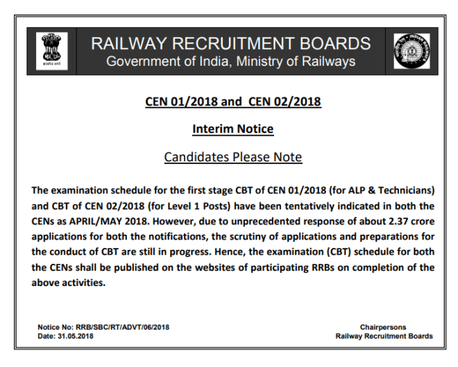 RRB ALP & Group D Exam Date