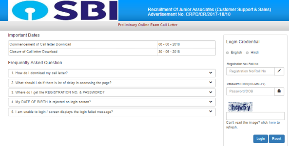 SBI Clerk Admit Card 2018 Download