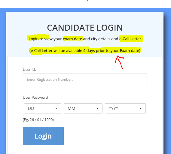 candidate login for RRB ALP Hall Ticket