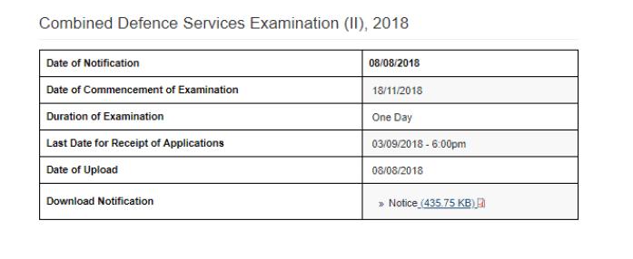 UPSC CDS 2 2018 exam dates