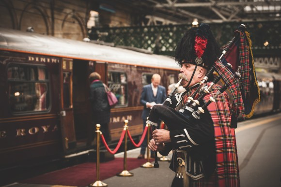 Instagrammable train trips, Belmond Royal Scotsman bagpipes