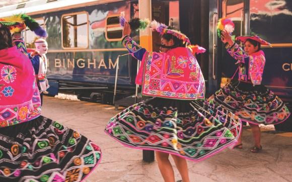 Belmond Hiram Bingham train peru dancers