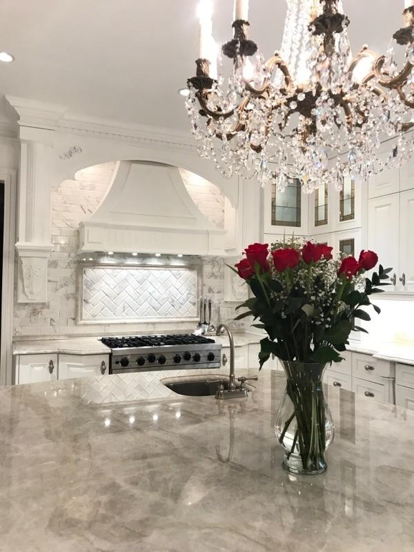 Grand Kitchen With Taj Mahal Quartzite Countertops Rai