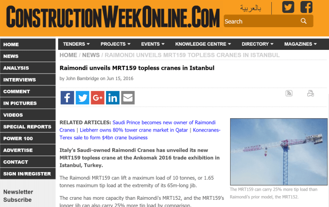 Construction Week Online: Raimondi Cranes has unveiled its new MRT159 at Ankomak 2016 trade exhibition